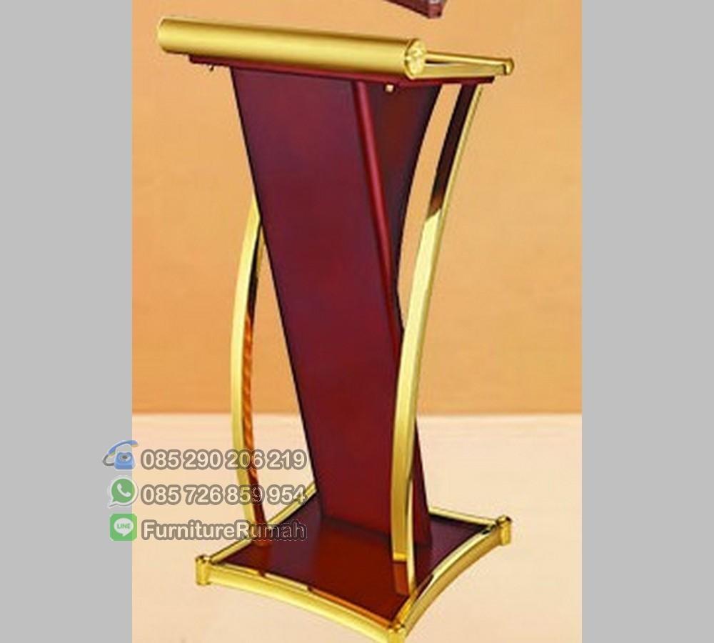 Mimbar Mewah Modern Podium Minimalis Stainless Gold Terbaru